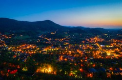Beautiful scenery of Ustron in Silesian Beskids at dusk. Poland