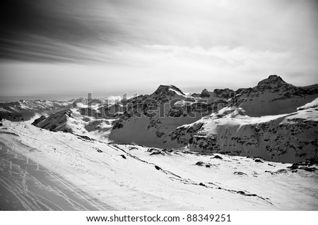 beautiful scenery of winter mountains, black and white photo