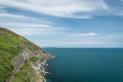 Beautiful scenery on a sunny summer day in Ireland. Rail is located just next to Graystones to Bray cliff walk.