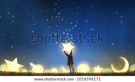 Stock Photo beautiful scenery showing the young boy standing among glowing planets and holding the star up in the night sky, digital art style, illustration painting