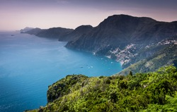 "Beautiful scenic aerial panorama view of Amalfi coast (costiera amalfitana) and Positano from famous ""Path of gods"" (Sentiero degli dei) hiking trail, nobody, no people"