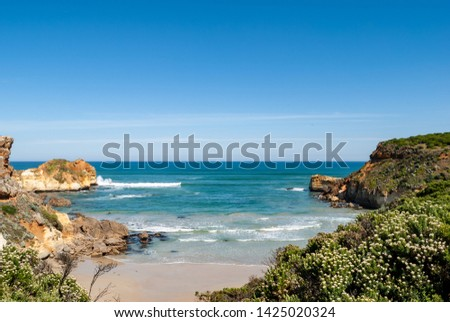 Beautiful scenic landscape in southern Australia on the coast of the southern ocean