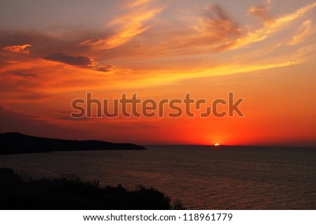 Beautiful scenic landscape with dramatic cloudy sky at sunset in Taman, Azov sea, Krasnodar Krai, Russia, august - 2012