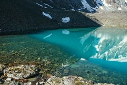 Beautiful scenic landscape with turquoise mountain lake with transparent water and stony bottom. Azure glacial lake with clear water surface in sunlight. White snow and green moss near mountain lake.