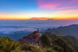 beautiful scenic of fansipan peak highest mountain of indochina in sapa lao cai northern of vietnam