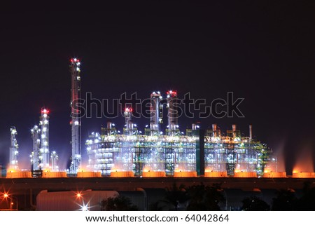 beautiful scenic of petrochemical oil refinery plant shines at night