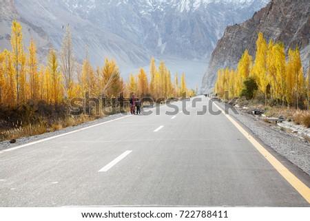 Beautiful scenic road in autumn , Karakoram highway / Karakoram Highway, Pakistan #722788411