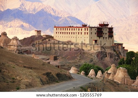 Beautiful scenic view of Kings palace in Stok against the background of distant colorful mountain, Leh district, Ladakh range, Jammu & Kashmir, Northern India