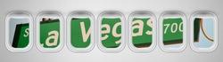 Beautiful scenic view of Las Vegas Boulevard street sign through the aircraft windows.