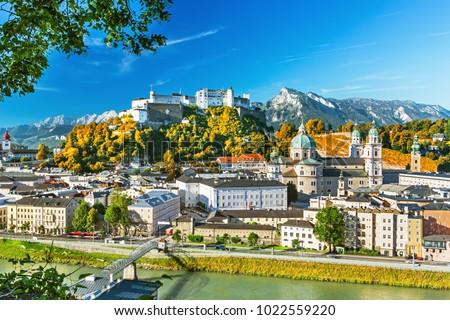 Beautiful scenic view on Salzburg skyline with Festung Hohensalzburg in the summer, Salzburg, Austria