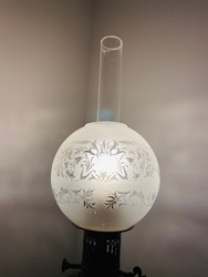 Beautiful sculpture on glass cover lantern lamp