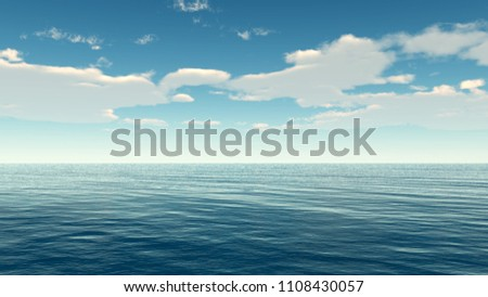Beautiful sea and clouds sky - 3D rendering #1108430057