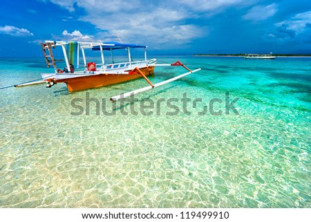 Beautiful sea and coastlines of Gili Meno Indonesia