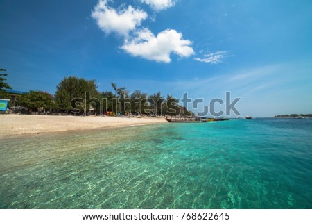Beautiful sea and coastlines of Gili Trawangan, Lombok, Indonesia. #768622645