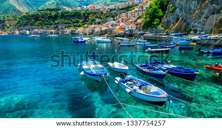beautiful sea and places of Calabria -Scilla town with traditional fishing boats. south of Italy #1337754257