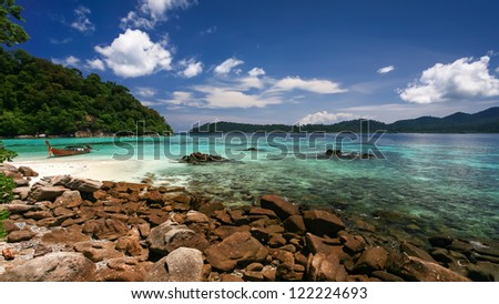 Beautiful sea and white sand beach at tropical island, Koh Lipe, Andaman Sea, Thailand - stock photo