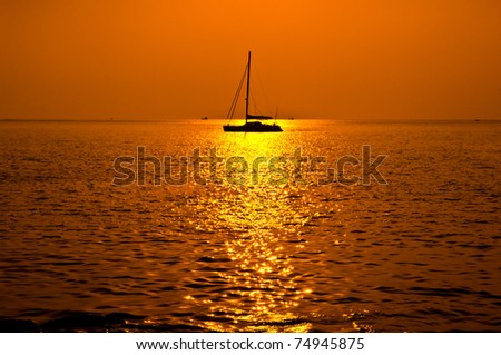 Beautiful Sea at Sunset in Phuket, South of Thailand