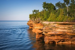 Beautiful Sea Caves on Devil's Island in the Apostle Islands National Lakeshore, Lake Superior, Wisconsin