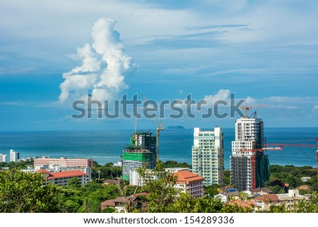 Beautiful sea city landscape and cityscape near the beach coast of Pattaya, Thailand. It is a tourism city with beautiful sea.