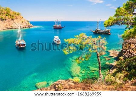 Beautiful sea coast 'Paradise bay' near Kemer, Turkey. Summer landscape. Famous travel destination Stok fotoğraf ©