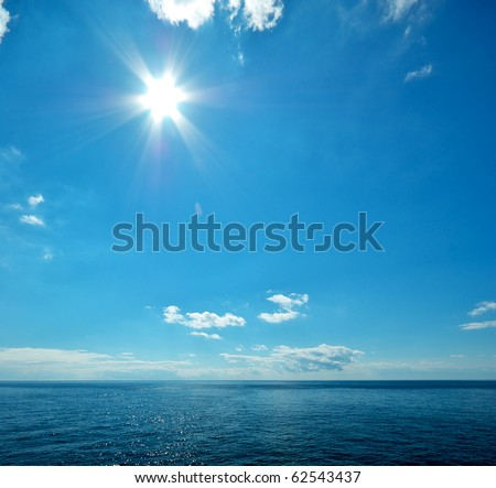 Beautiful sea horizon. Tranquil scene. Element of design