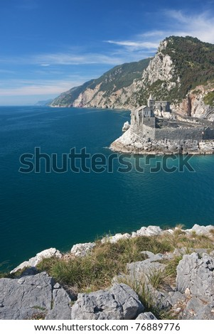 Beautiful sea in Portovenere, italy, in a sunny summer day
