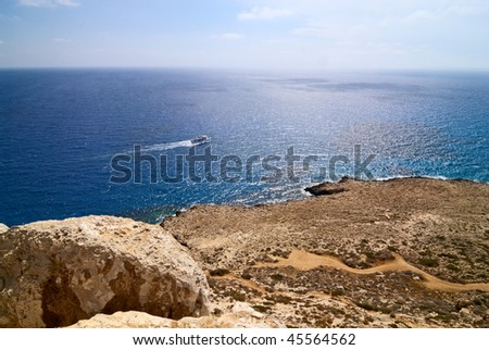 Beautiful sea landscape rocks, Cyprus.