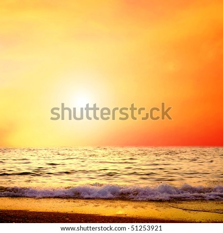 Beautiful sea nature landscape on the sunrise sky #51253921