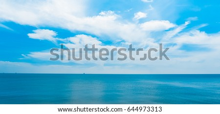 Beautiful sea on with blue sky background #644973313