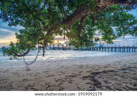 Beautiful sea scape scene in the evening at Lo Jak port in Koh Yoal Yai Thailand Zdjęcia stock ©