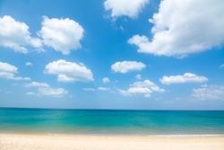 Beautiful sea summer or beach and tropical sea background at Mai khao beach,Phuket,Thailand.