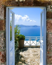 Beautiful sea view from the balcony. Santorini island, Greece.