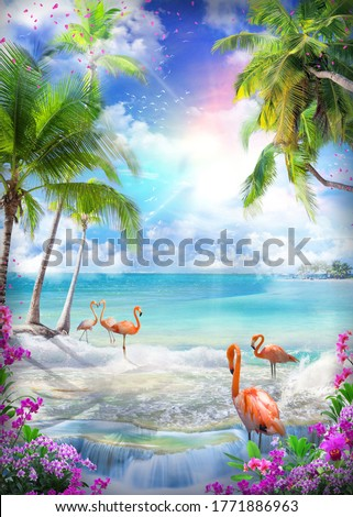 Beautiful sea view from the garden of orchids and palm trees. Pink sunset and flamingos on the shore. Paradise Island. Digital collage, mural and fresco. Wallpaper. Poster. Modular panno. 3d render. Foto stock ©