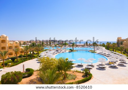 Beautiful sea view in a tropic hotel.