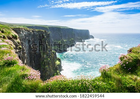 Beautiful Sea view in Ireland. Famous Cliffs of Moher Coastline at the Atlantic  Stock fotó ©