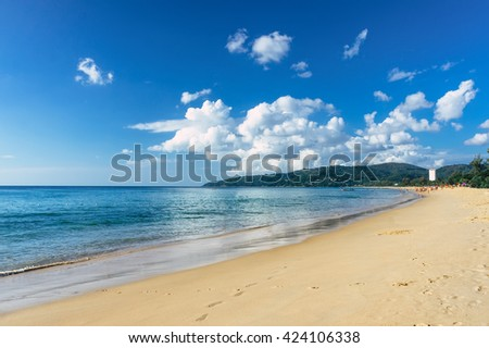 Beautiful sea view on Karon beach, Phuket, Thailand, Asia. Karon beach, Phuket. Sunny beach. Beautiful white sand beach and calm sea in Phuket, Thailand. Endless sandy beach. Beach scene. Karon beach