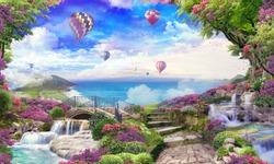 Beautiful sea view with access to the garden, old houses, flowers and waterfalls. Balloons in the sky. Digital collage, panels and panels. Wallpaper. Poster design. Modular panel.