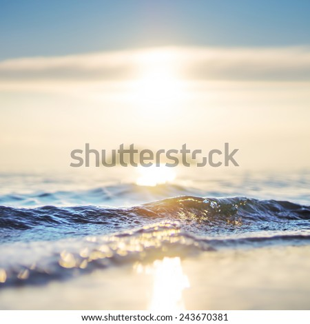 Beautiful sea wave and sky at sunset