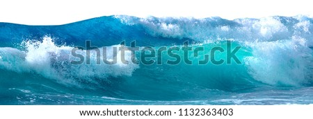 Photo of  Beautiful sea waves with foam of blue and turquoise color isolated on white background