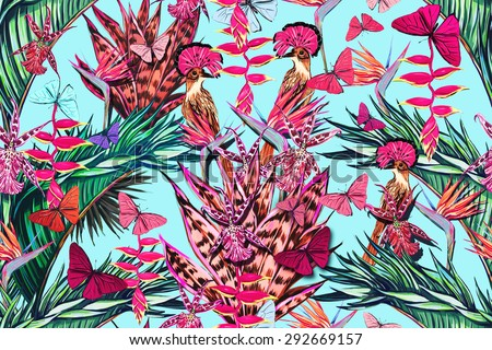 wallpaper tropical birds and foliage - photo #10