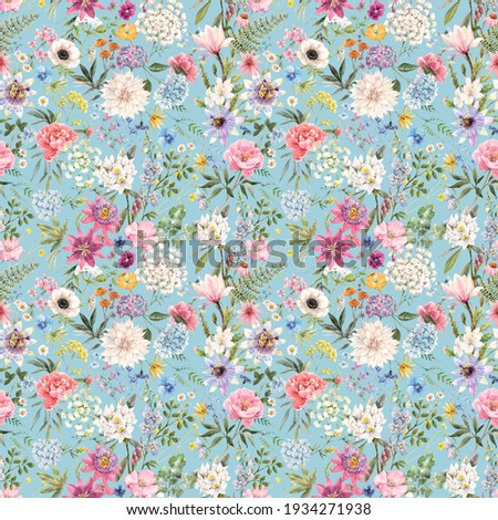 Beautiful seamless floral pattern with watercolor hand drawn gentle summer flowers. Stock illustration. Natural artwork.