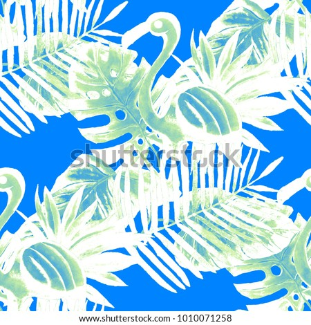 Beautiful seamless floral summer pattern background with tropical palm leaves, flamingo, hibiscus. Can be used as wallpapers, web page backgrounds, surface textures, textile.