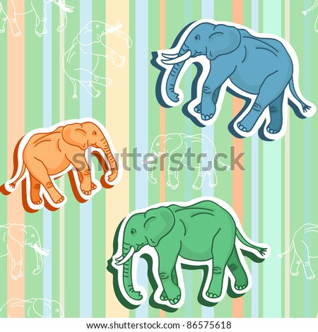Beautiful seamless pattern of colorful cartoon elephants with shadows walking around over stripes, in calming pastel shades of orange, green and blue, perfect for kid room as wallpaper or textile.