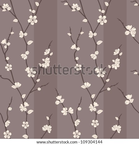 Beautiful seamless pattern with sakura branches and flowers