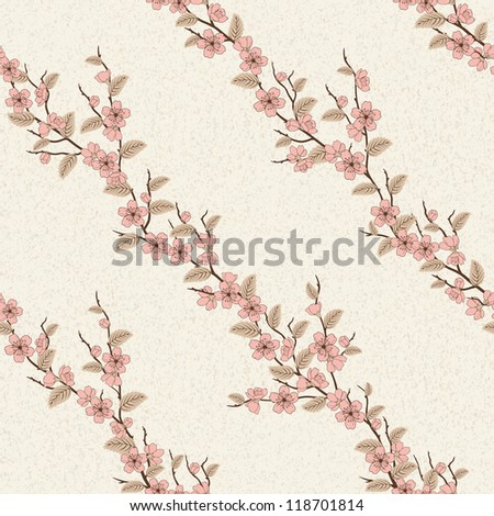 Beautiful seamless pattern with sakura flowers