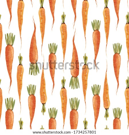 Beautiful seamless pattern with watercolor hand drawn carrot paintings. Stock vegetable illustration.