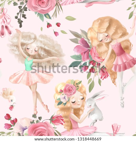 Beautiful, seamless, tileable pattern with watercolor ballerinas, ballet girls and pink rose blossoms, flowers