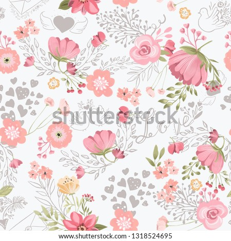 Beautiful, seamless, tileable pattern with watercolor flowers, love pigeons and hearts background
