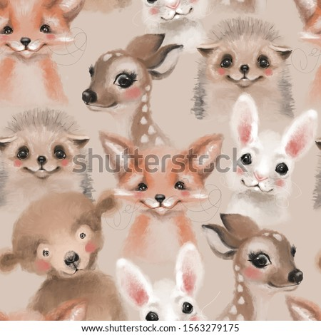 Beautiful seamless, tileable, watercolor pattern with woodland animals - deer, bunny, hedgehog, bear and fox