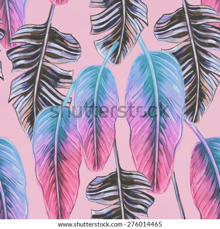 Beautiful seamless tropical jungle floral pattern background with colorful palm leaves #276014465